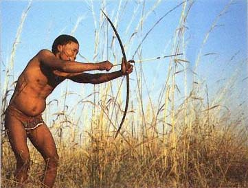 A Khoisan man hunting.  Though some Khoisan have adopted modern customs, other still live in the traditional way.